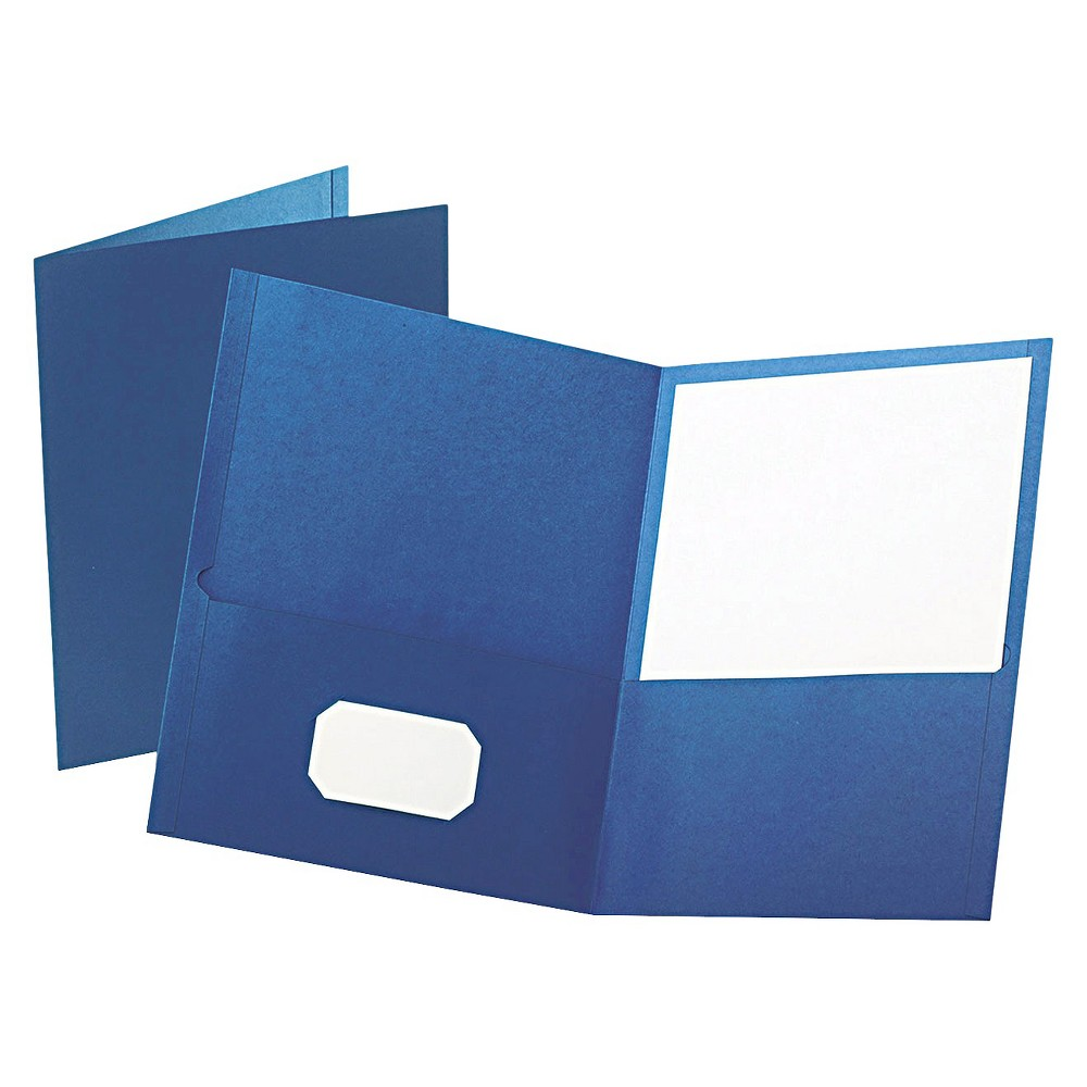 Oxford Twin-Pocket Portfolio with Embossed Leather Grain Paper Folder - Blue (Box of 25) Leatherette-grained stock provides a richer look and feel. Die-cut business card slot on inside front pocket keeps contact information at hand. Color: Blue.
