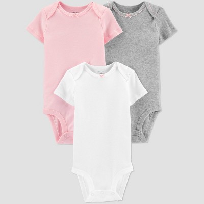 Baby Girls' 3pk Solid Bodysuit - little planet organic by carter's Pink Newborn