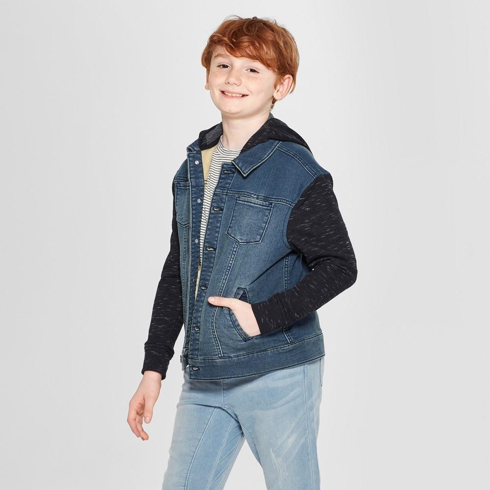 Boys' Knit Trucker Long Sleeve Fashion Jacket - art class Indigo S, Blue