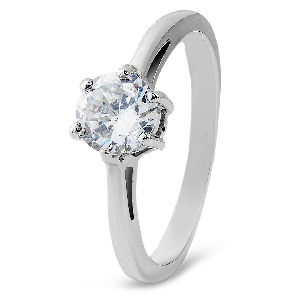 Women's Cubic Zirconia Solitaire Stainless Steel Ring (2mm) - Silver ( 7)