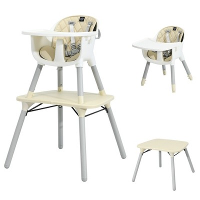 Babyjoy 4 in 1 Baby High Chair Convertible Toddler Table Chair Set w/ PU Cushion