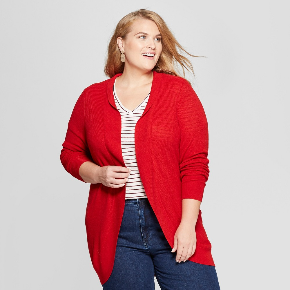 Women's Plus Size Cocoon Cardigan - Ava & Viv Red 4X