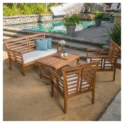 Caydon 4pc Acacia Wood Patio Chat Set with Cushions - Brown Patina - Christopher Knight Home