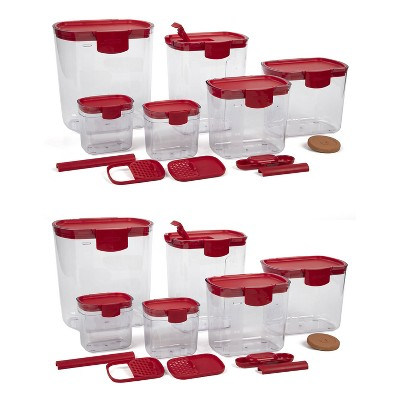 Progressive International Prepworks ProKeeper 6 Piece Clear Food Storage Container Bin and Lid Set for Home Pantry Kitchen Organization, Red (2 Pack)