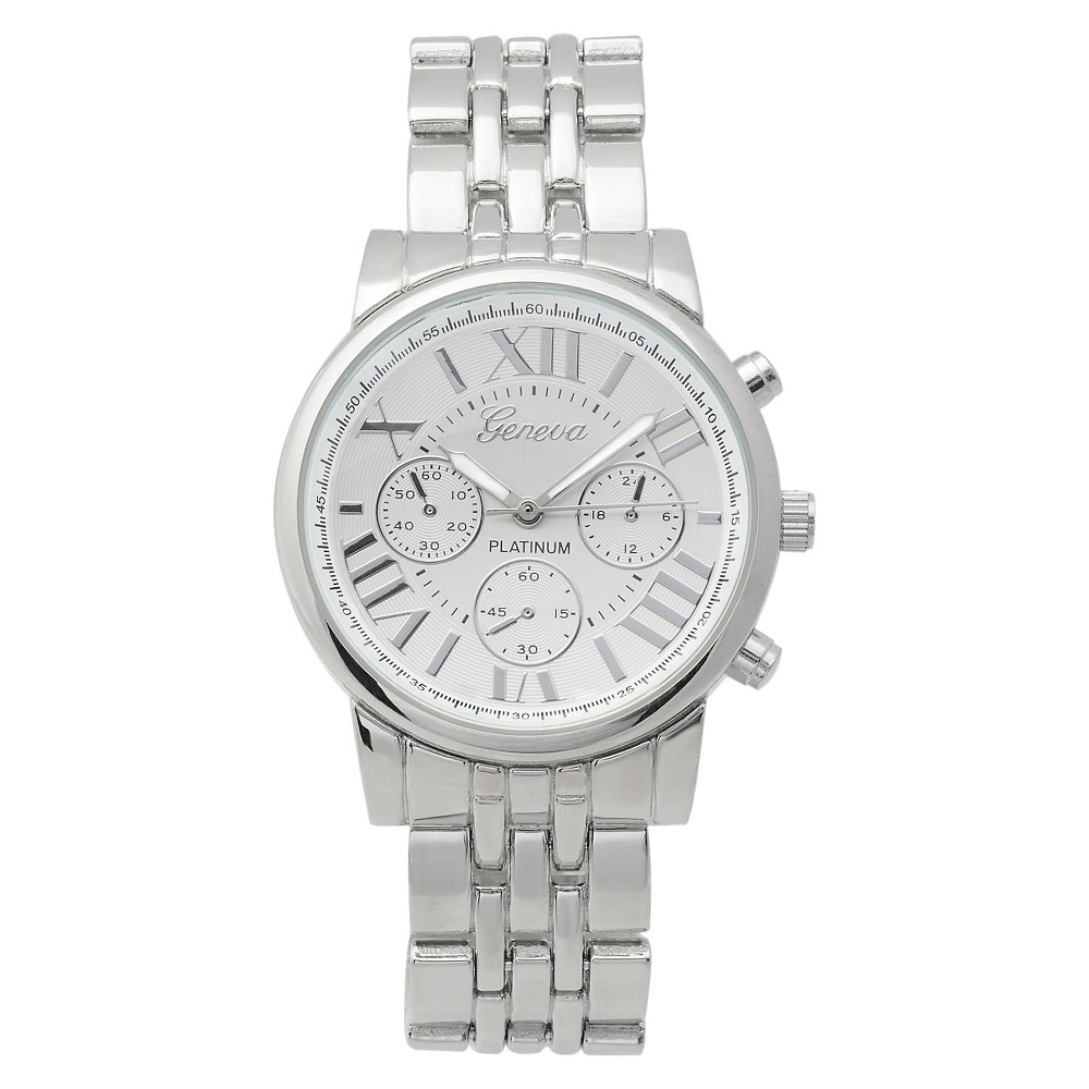 Women's Geneva Platinum Round Face Lustrous Metal Link Watch - Two-Tone