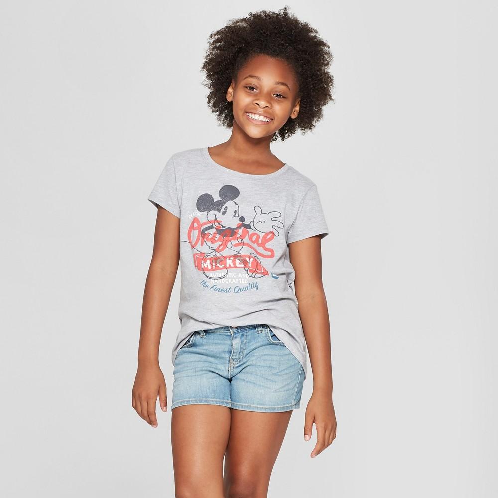 Girls' Disney Mickey Mouse Short Sleeve T-Shirt - Heather Gray M