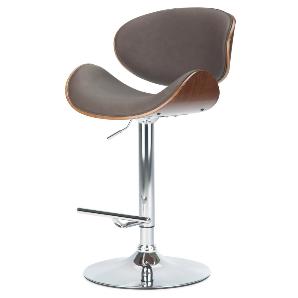 Avondale Bentwood Adjustable Height Gas Lift Bar Stool Distressed Brown Faux Leather - Wyndenhall