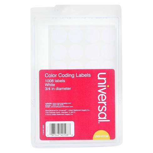 "Universal® Self-Adhesive Removable Color-Coding Labels, 3/4"" dia, White, 1008pk - image 1 of 1"