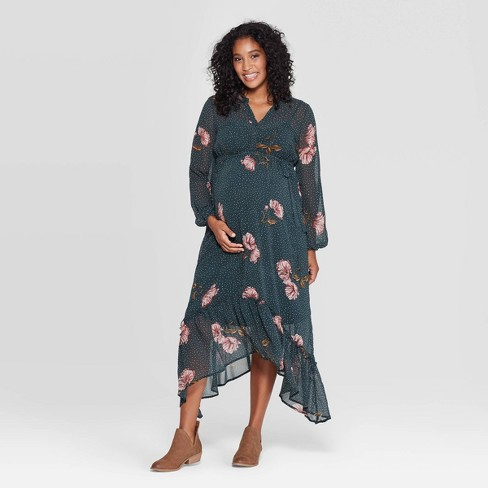 Maternity Floral Print Long Sleeve Chiffon Maxi Dress - Isabel Maternity by Ingrid & Isabel™ Teal - image 1 of 2