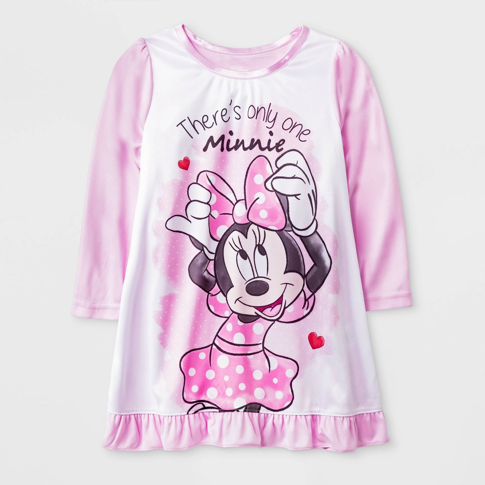 Image of Toddler Girls' Minnie Mouse Dorm Nightgown - White/Pink 2T, Girl's