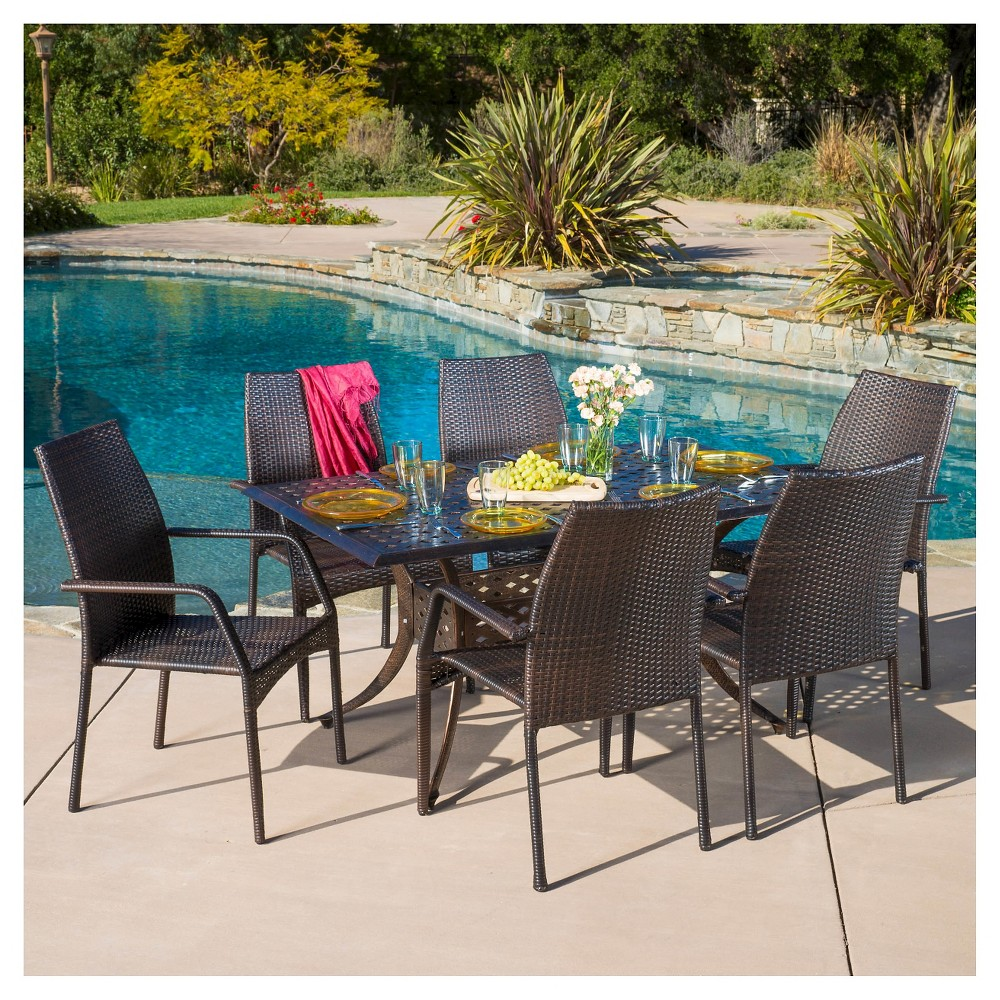 Libson 7pc Rectangular Cast Aluminum and Wicker Dining Set - Bronze/Brown - Christopher Knight Home