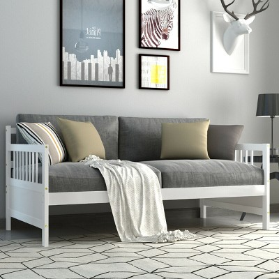 Costway Twin Size Wooden Slats Daybed Bed Sofa Support Platform Sturdy W/Rails White/Espresso