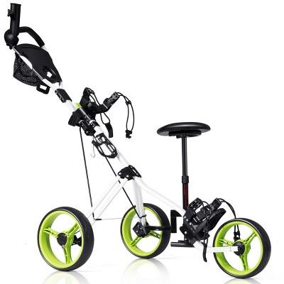 Costway Foldable 3 Wheel Push Pull Golf Club Cart Trolley w/Seat Scoreboard Bag Swivel