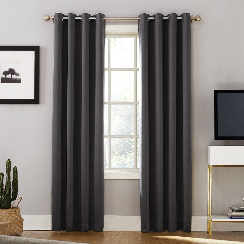 Oslo Theater Grade Extreme Blackout Grommet Curtain Panel Coal (Grey) 52