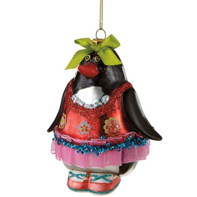 """Ganz 4"""" Glitzy Glass Penguin Christmas Ornament - Red/Pink"""
