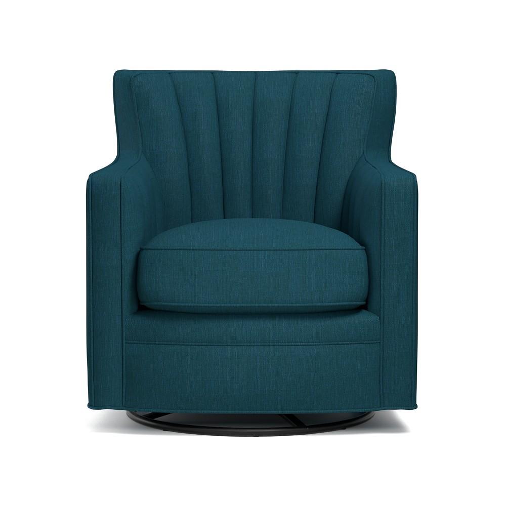 Zerk Swivel Arm Chair - Peacock Blue - Handy Living