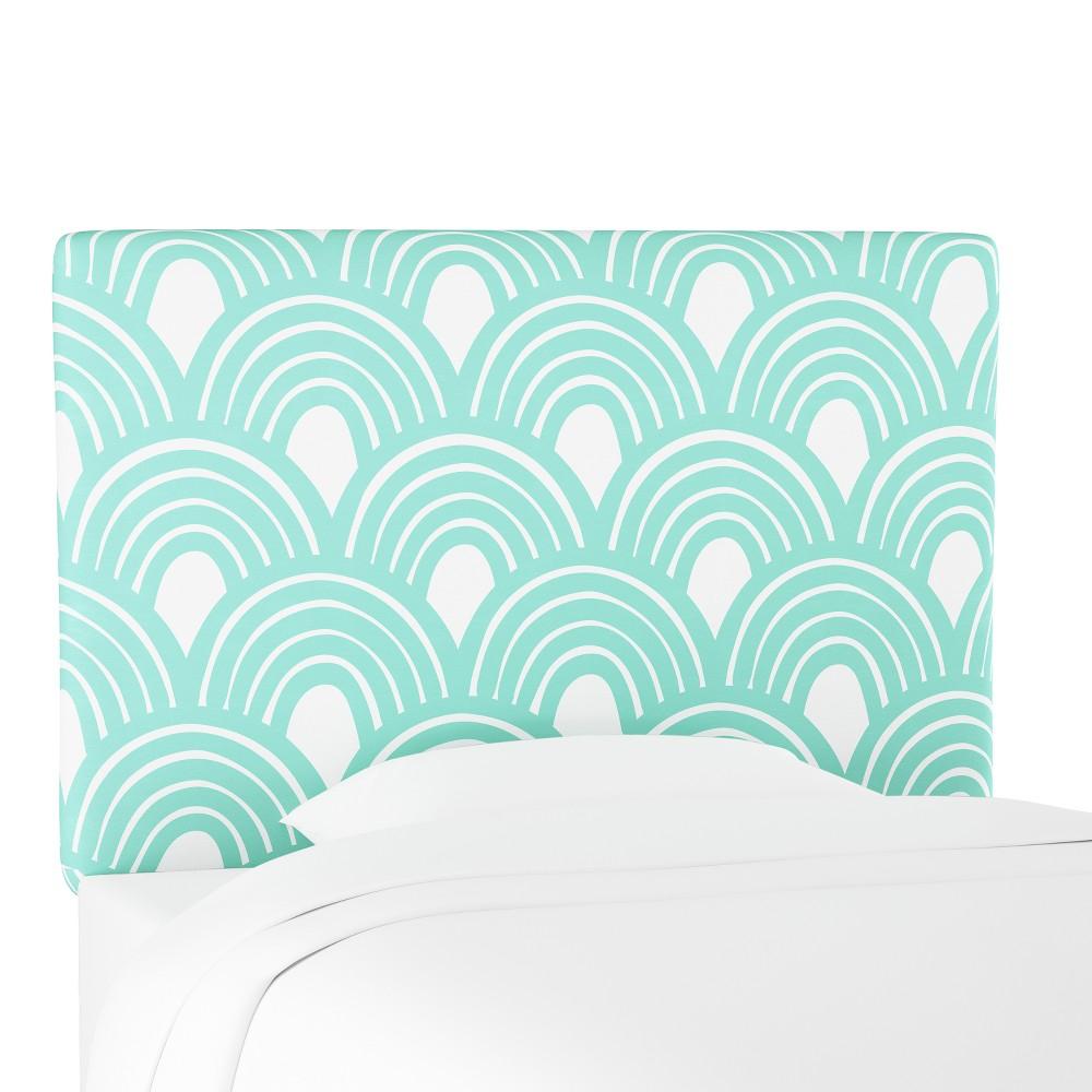 Kids Printed Upholstered Headboard Twin Seafoam Scallop - Pillowfort