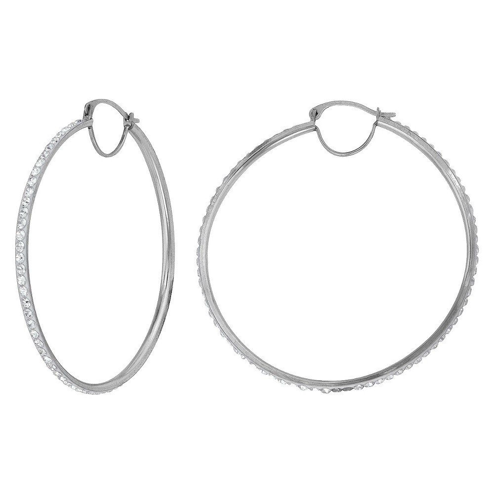 Women's Silver Plated 35X33 MM Crystal Hoop Earring - White, Silver Gray