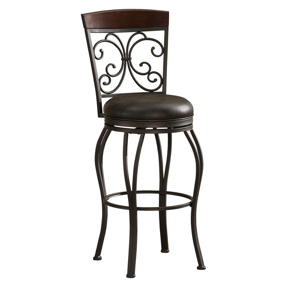 "Image of ""26"""" Amelia Swivel Leather Counter Stool Steel/Brown - American Heritage Billiards"""