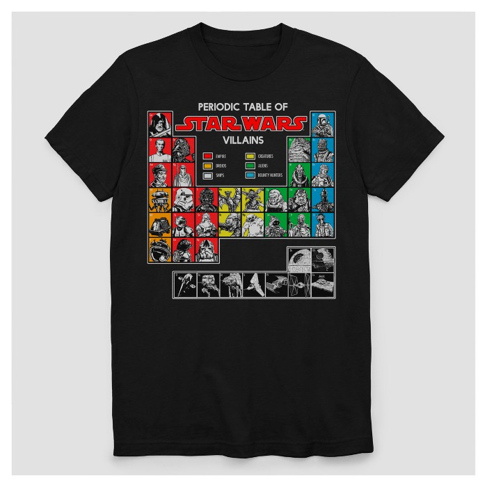 Men's Star Wars Periodic Table of Villains Short Sleeve Graphic T-Shirt - Black - image 1 of 1