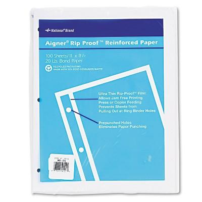 National Rip Proof 20-lb Reinforced Filler Paper Unruled 11 x 8-1/2 WE 100 Sheets/Pk 20121