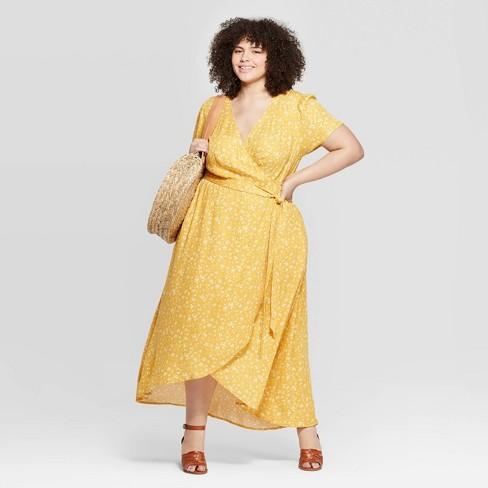 Women\'s Plus Size Floral Print Short Sleeve V-Neck Wrap Dress ...