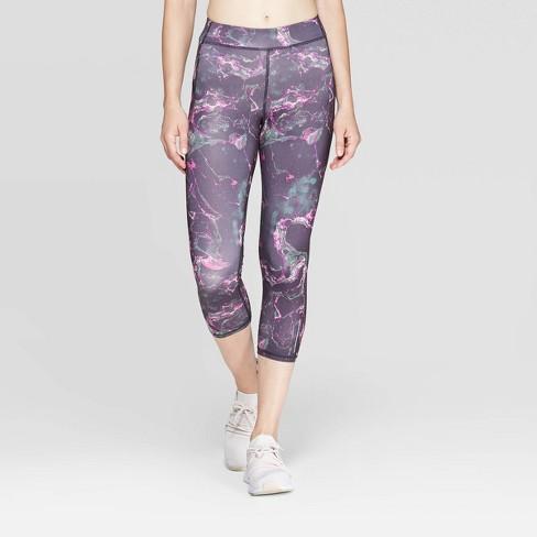 "Women's Running Marble Print Mid-Rise Capri Leggings 20"" - C9 Champion® Black/Pink/Green - image 1 of 2"