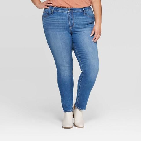 Women's Plus Size Mid-Rise Jeggings - Universal Thread™ Medium Blue - image 1 of 3