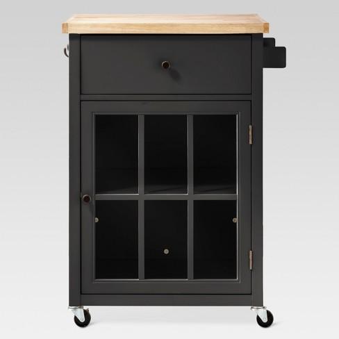 Windham Wood Top Kitchen Cart - Black - Threshold™