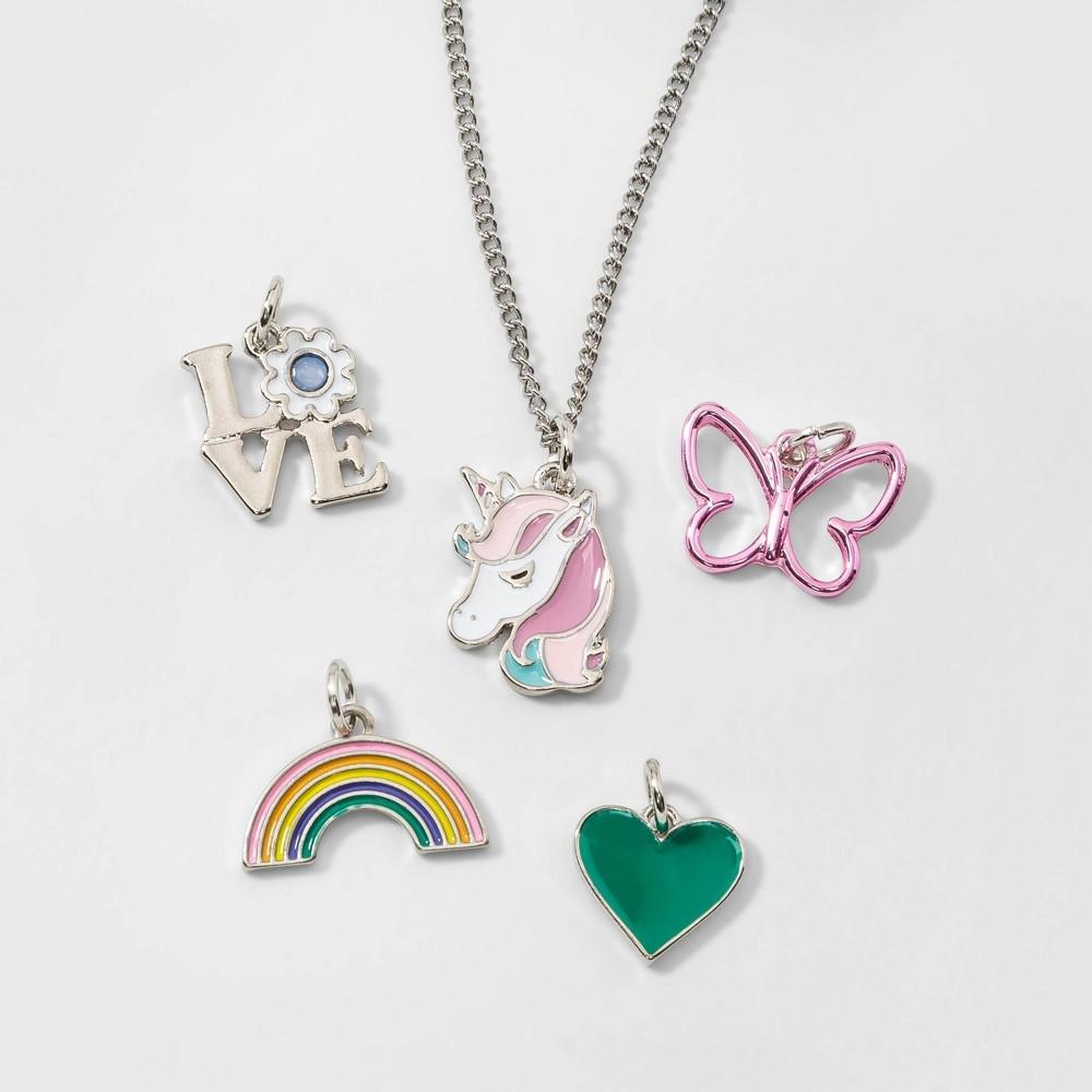 Girls' 5ct Unicorns & Rainbow Charms Diy Necklaces - Cat & Jack, Multi-Colored