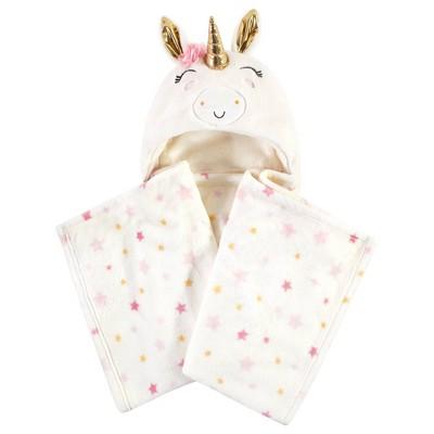 Luvable Friends Unisex Baby Unicorn Themed Baby Bedding Set - Unicorn Hooded Blanket One Size
