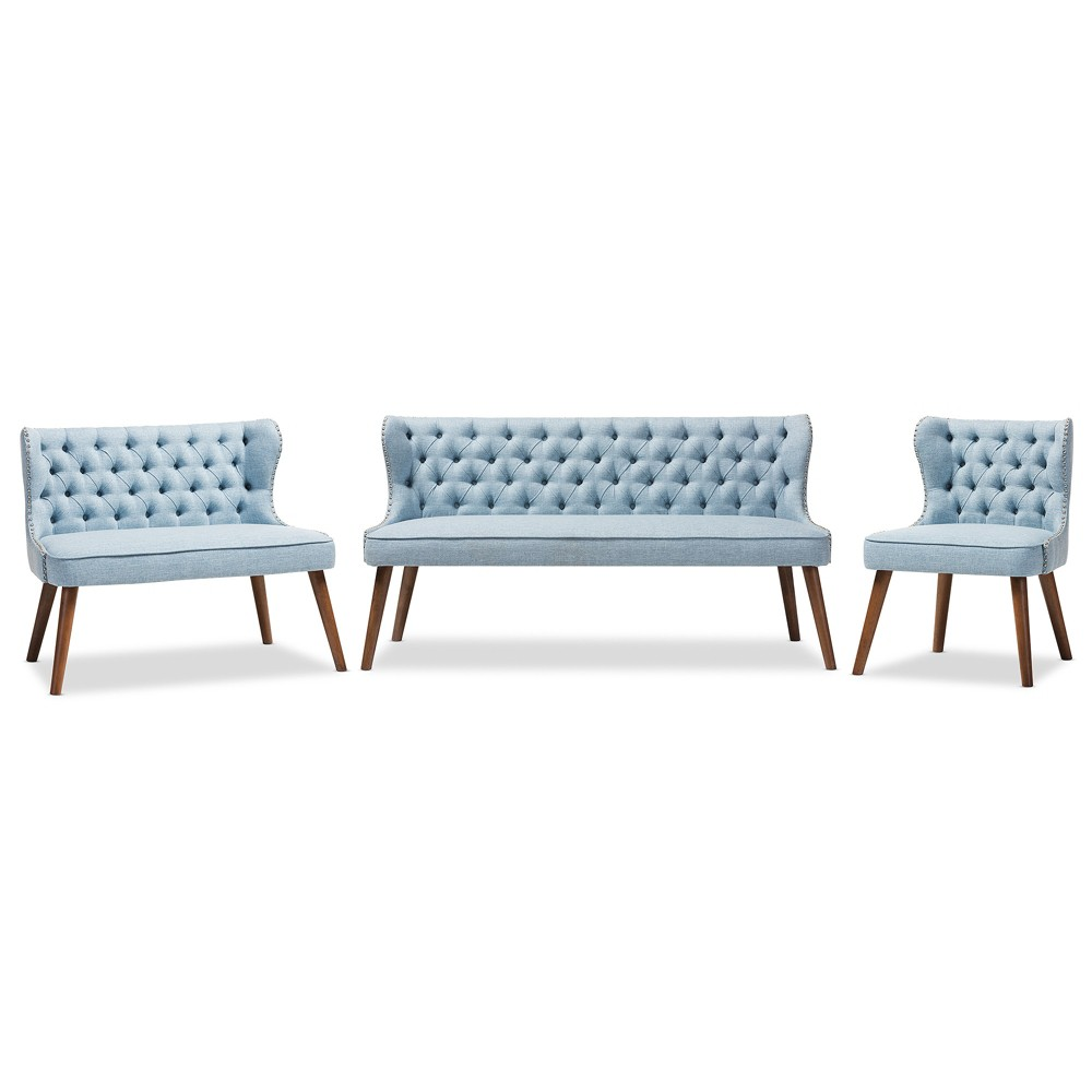 Scarlett Mid - Century Modern Wood and Fabric Upholstered Button - 3 Piece Sofa Set - Light Blue,