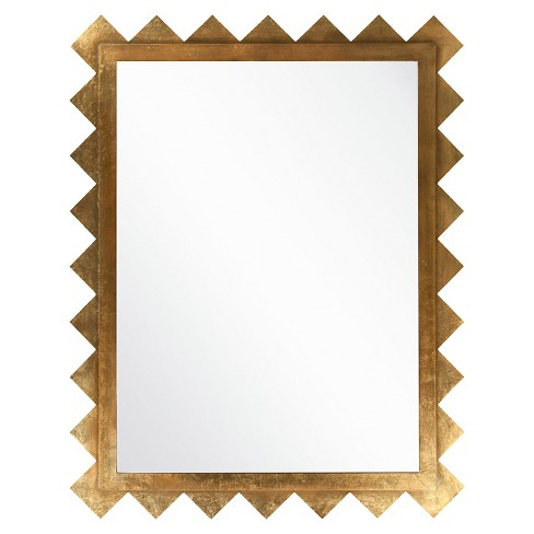 Rectangle Hampden Decorative Wall Mirror Brilliant Gold - Surya - image 1 of 1