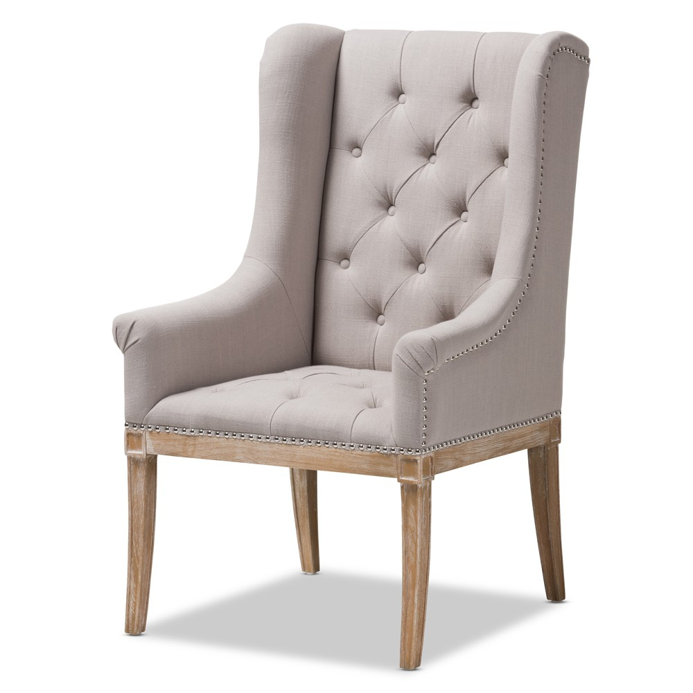 Cedulie French Provincial Fabric Upholstered Oak Lounge Chair Beige - Baxton Studio