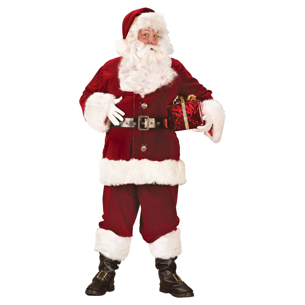 Fun World Men's Santa Suit Super Deluxe Costume - Large, Red
