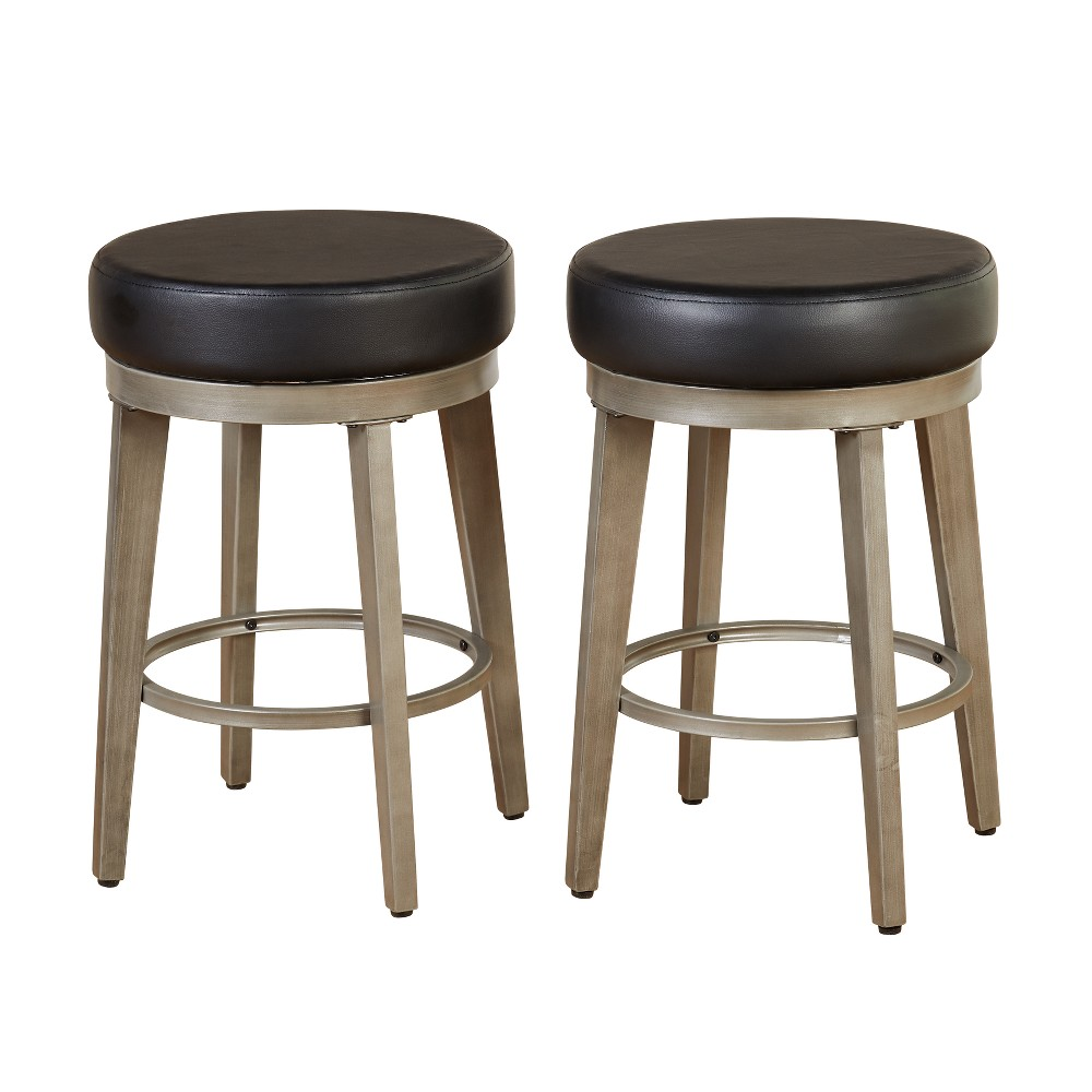 "Image of ""24"""" Linden Swivel Stool Black - Angelo:Home"""