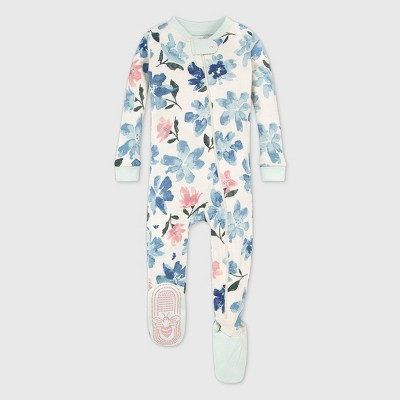 Burt's Bees Baby® Baby Girls' Organic Cotton Botanical Gardens Footed Pajama - Blue/Cream 24M