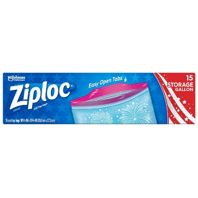 Ziploc Stars & Stripes Storage Gallon Bags - 15ct
