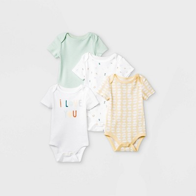 Baby 4pk 'ABC' Short Sleeve Bodysuit - Cloud Island™ Mint/Yellow/White