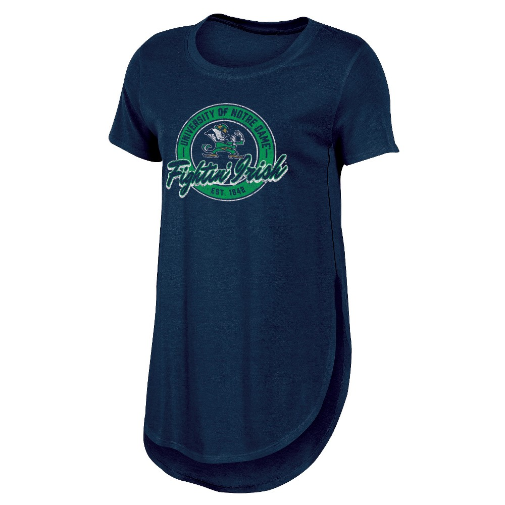 Notre Dame Fighting Irish Women's Heathered Crew Neck Tunic T-Shirt - L, Multicolored