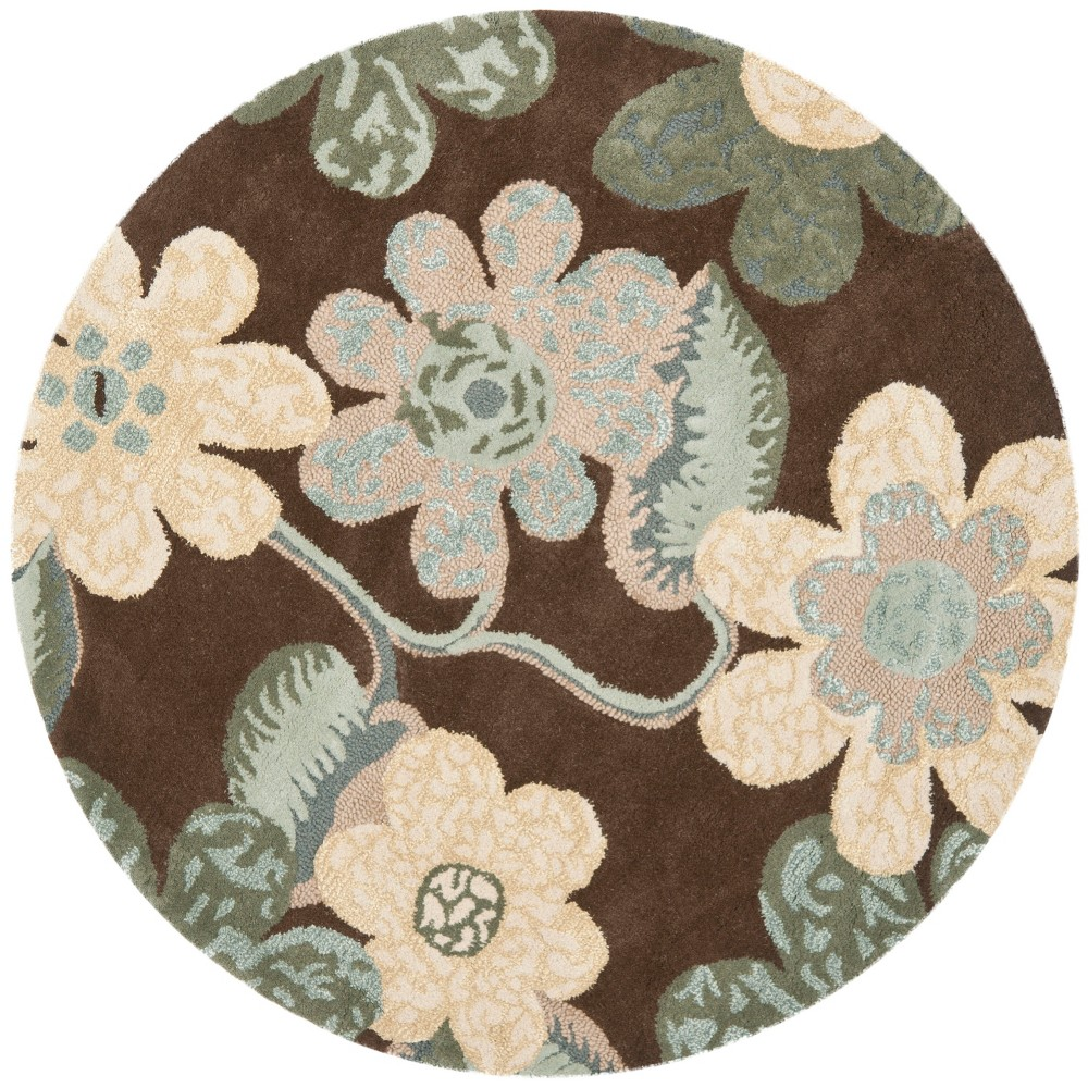5' Floral Round Area Rug Brown - Safavieh, Multicolored