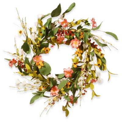 "Artificial Spring Flower Wreath Pink 22"" - National Tree Company"