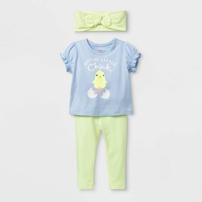 Baby Girls' Little Chick Top & Bottom Set - Cat & Jack™ Blue/Green 3-6M