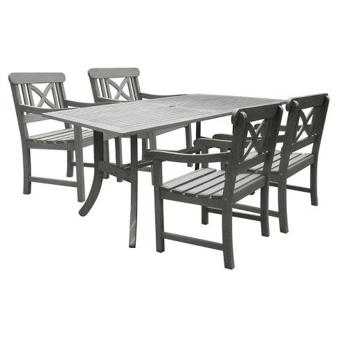 Vifah Renaissance Rectangular Table & Arm Chair Outdoor Hand-scraped 5pc Dining Set - Gray - image 1 of 5