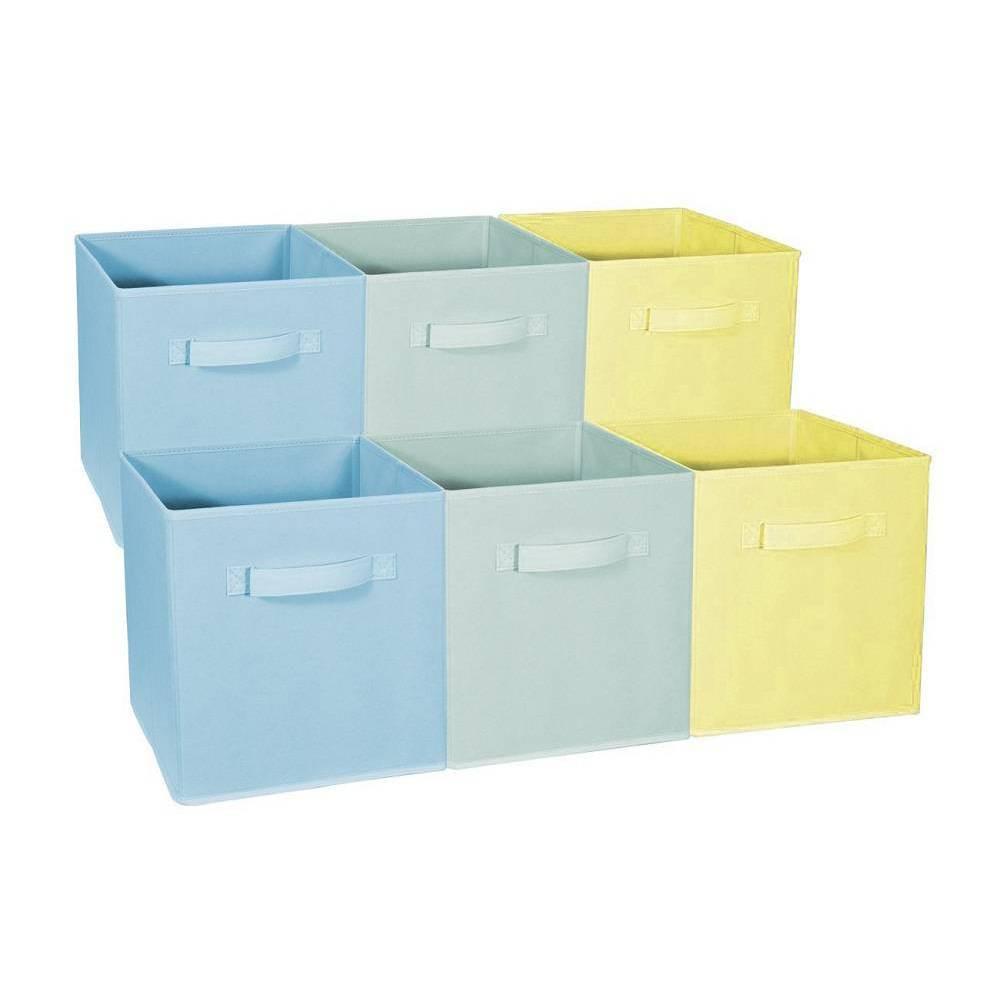 Sorbus 6pk Home Storage Bundle Pastel Drawer And Closet Bins Blue Green Yellow