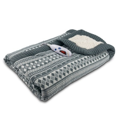 Sweater Knit/Sherpa Electric Throw (50 x62 )Grey/White Fair Isle - Biddeford Blankets