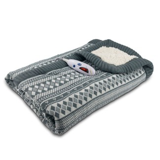 "Sweater Knit/Sherpa Electric Throw (50""x62"") Grey/White Fair Isle - Biddeford Blankets"