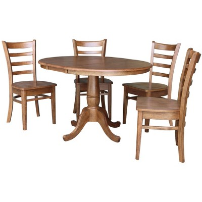 """36"""" Bill Round Extendable Dining Table with 4 Chairs Distressed Oak - International Concepts"""