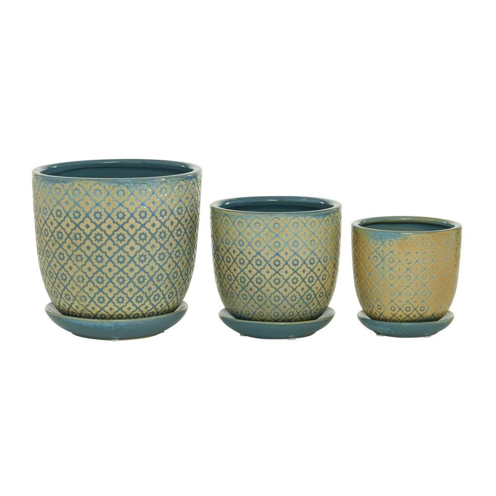 Set Of 3 Ceramic Planter With Saucer Set Olivia 38 May