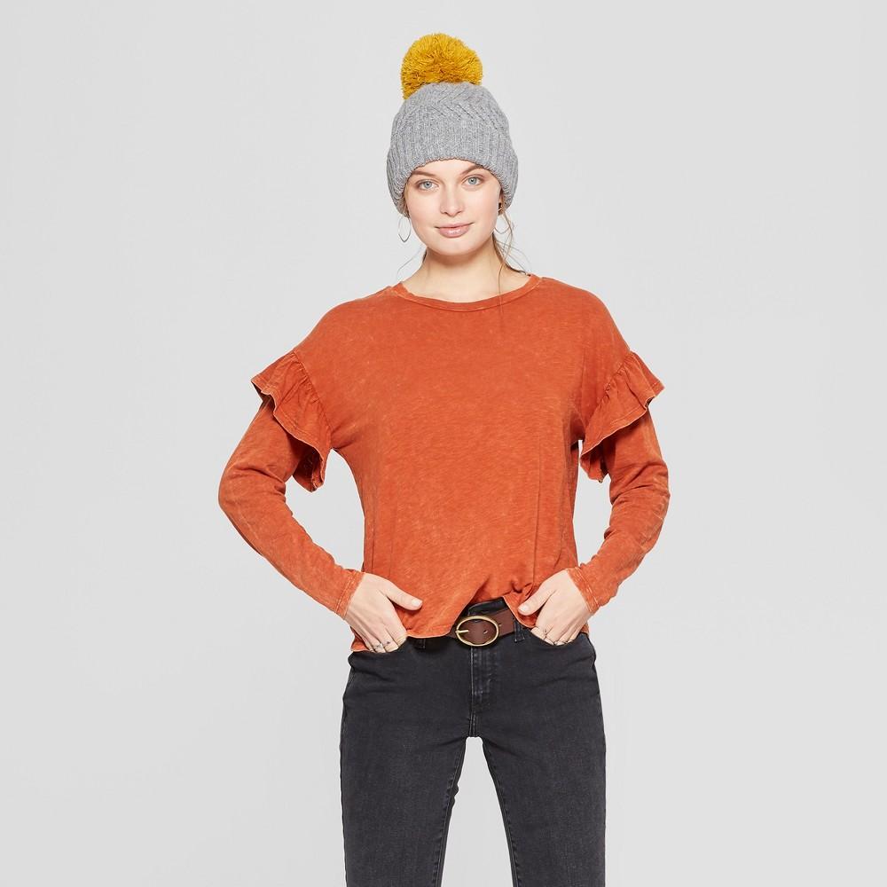 Women's Long Sleeve Ruffle T-Shirt - Universal Thread Orange S